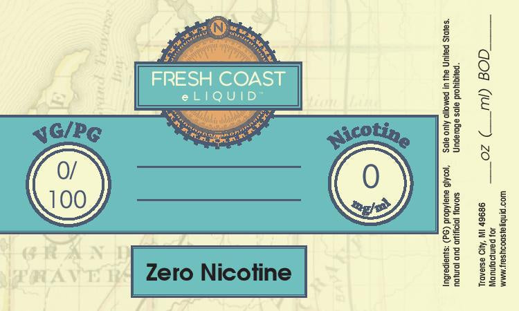 ZERO Nicotine Flavored Vapor Products