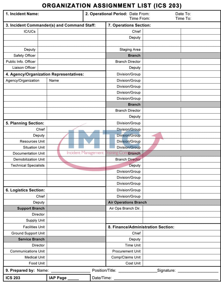 "ICS 203 - Organization Assignment List - 24""x36"" Laminated Wall Chart"