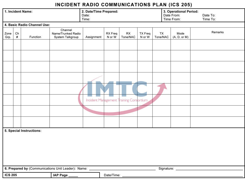 "ICS 205 - Incident Radio Communications Plan - 24""x36"" Laminated Wall Chart"