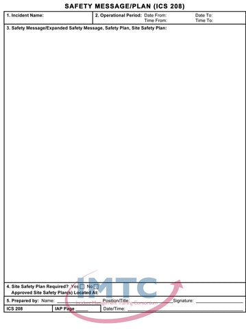 "ICS 208 - Safety Message Plan - 24""x36"" Laminated Wall Chart"