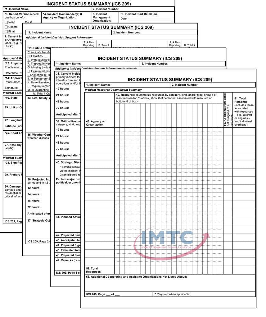 "ICS 209 - Set of 4 Incident Status Summary Wall Charts - 24""x36"" Laminated"
