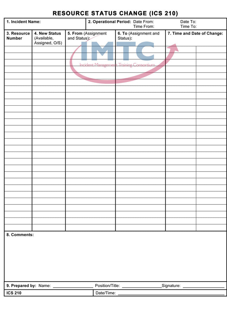 "ICS 210 - Resource Status Change - 24""x36"" Laminated Wall Chart"