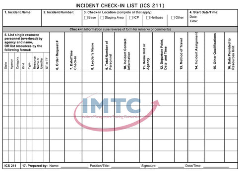 "ICS 211 - Incident Check-In List - 24""x36"" Laminated Wall Chart"