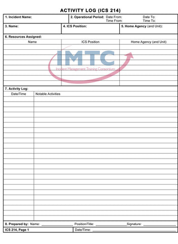 "ICS 214 - Activity Log - 24""x36"" Laminated Wall Chart"