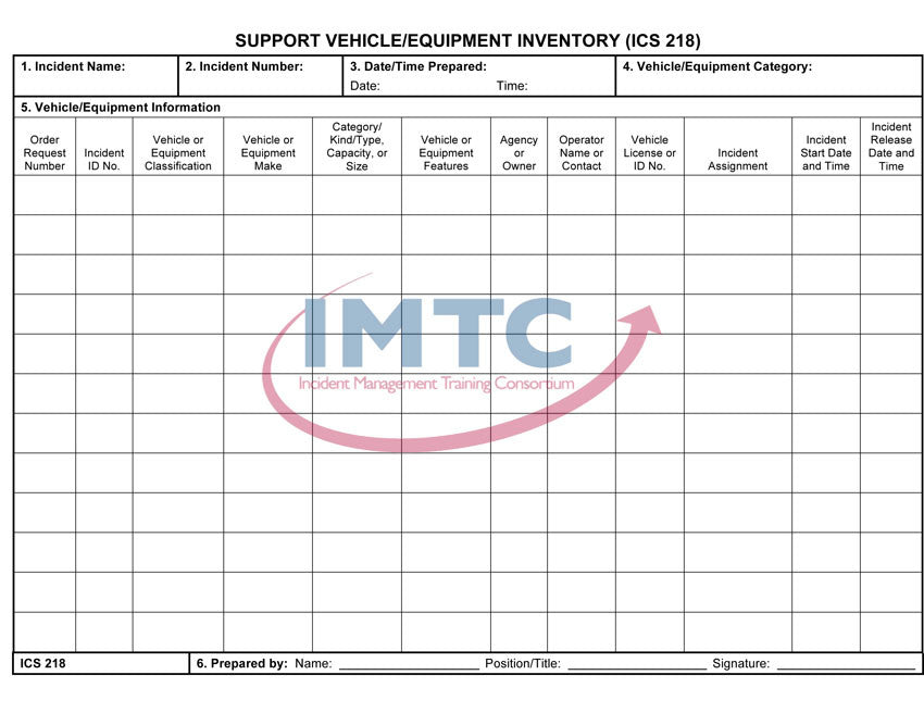 "ICS 218 - Support Vehicle/Equipment Inventory - 24""x36"" Laminated Wall Chart"