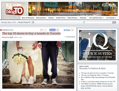 Gotstyle Featured On BlogTo: Top 10 Stores To By A Tuxedo In Toronto