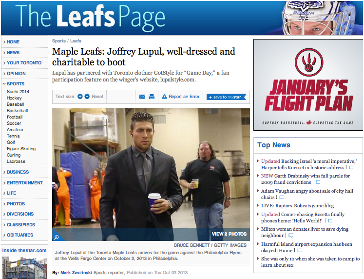 Toronto Star Features Joffrey Lupul x Gotstyle Partnership