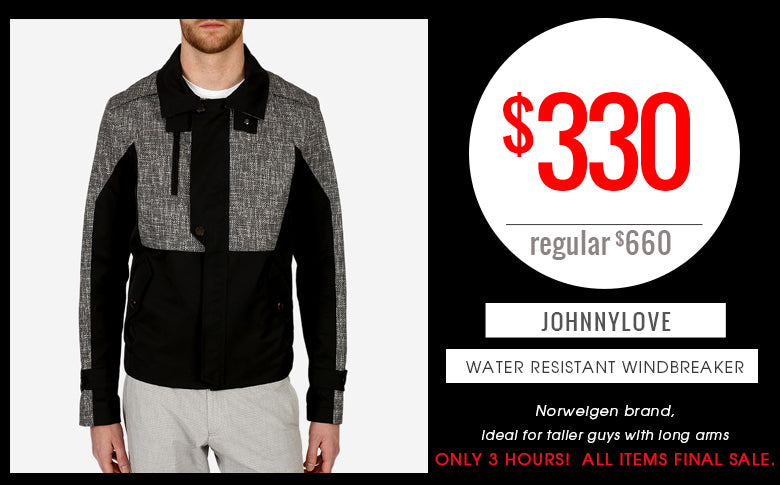 Flash Friday Sale: Johnny Love Water Resistant Jacket