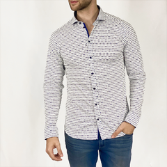 ALL OVER PRINT JERSEY SHIRT WITH SPREAD COLLAR