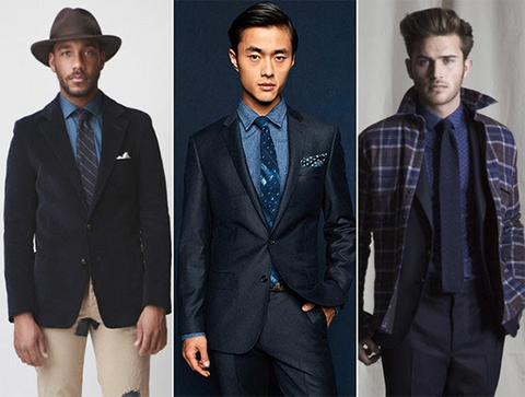 3 outfit collage with denims shirts styled with a blazer