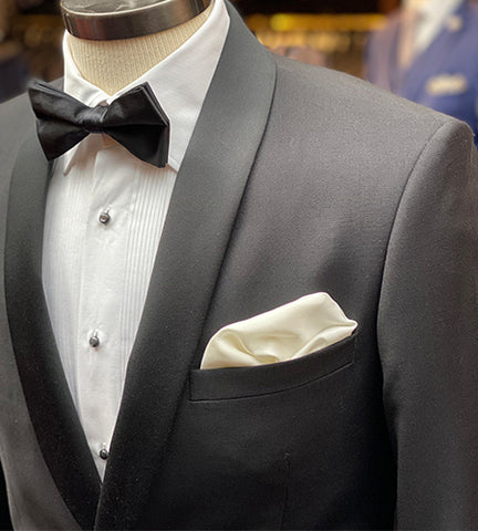 classic black suit with a white shirt