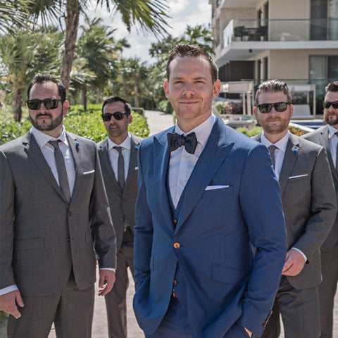 grooms blue and grey suit