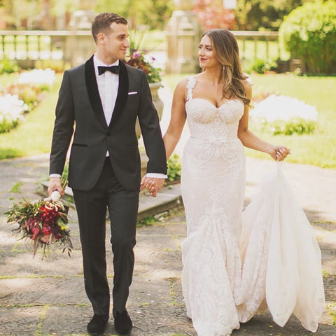 classic bride and groom outside