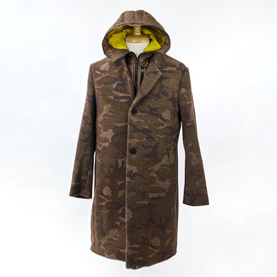 Krakatau Jackets Wool Blend Camo Twill Coat with Removable Inner Vest - Gotstyle The Menswear Store