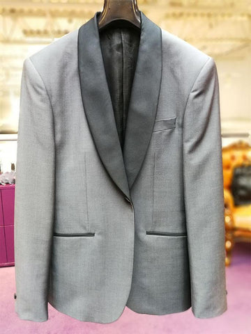 Hardy Amies MT - Tuxedos Shawl Collar Wool/Mohair Blend Tuxedo Charcoal - Gotstyle The Menswear Store