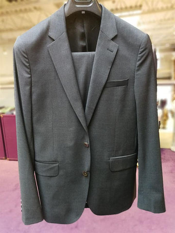 Solid Stretch Wool Basic Suit Charcoal