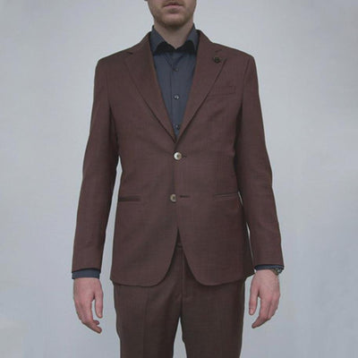 Gotstyle - 0909 Suits Cross Weave Wool Suit Burgundy
