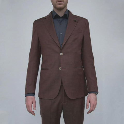 Cross Weave Wool Suit Burgundy