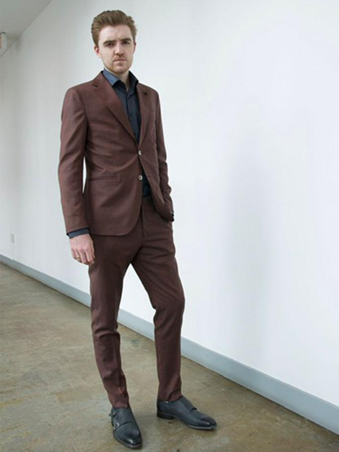 0909 MT - Suits Cross Weave Wool Suit Burgundy - Gotstyle The Menswear Store