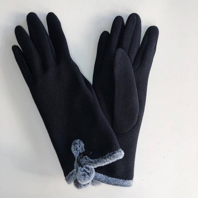 Venera Gloves Cotton Gloves with Pom-Poms - Black - Gotstyle The Menswear Store