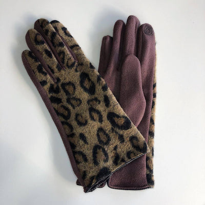 Venera Gloves Leopard Print Suede Gloves - Brown - Gotstyle The Menswear Store