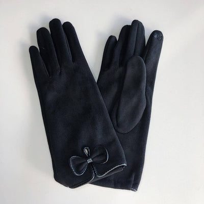 Venera Gloves Suede Gloves with Small Bow - Black - Gotstyle The Menswear Store