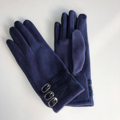 Venera Gloves Suede Gloves with Mini Straps - Navy - Gotstyle The Menswear Store