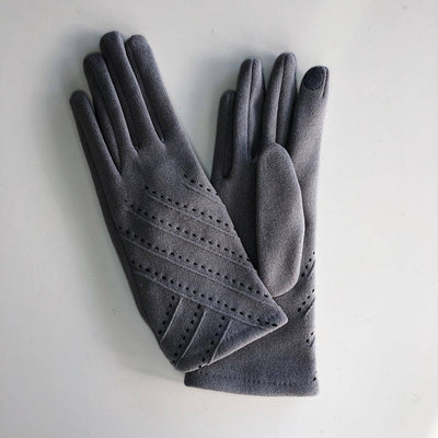 Gotstyle - Venera Gloves Stitch Detail Suede Gloves - Grey