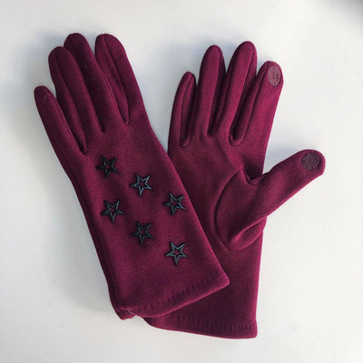 Venera Gloves Open Stars Cotton Gloves - Burgundy - Gotstyle The Menswear Store
