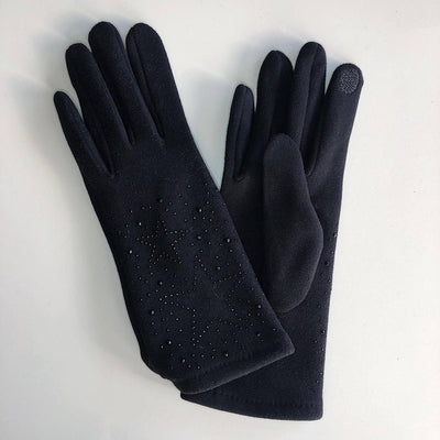 Gotstyle - Venera Gloves Dotted Stars Suede Gloves - Black