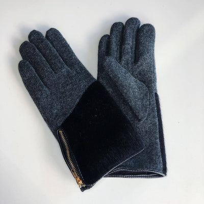 Gotstyle - Venera Gloves Zipper Wool Gloves with Faux Pony Hair - Charcoal