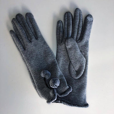 Venera Gloves Cotton Gloves with Pom-Poms - Grey - Gotstyle The Menswear Store