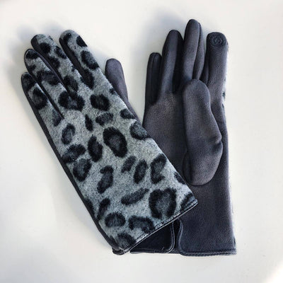 Gotstyle - Venera Gloves Leopard Print Suede Gloves - Grey