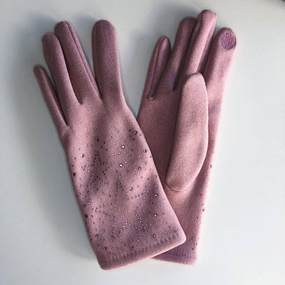 Gotstyle - Venera Gloves Dotted Stars Suede Gloves - Pink
