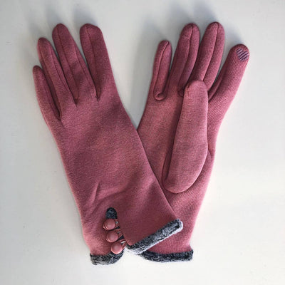 Gloves with Button Loops - Pink - Gotstyle The Menswear Store
