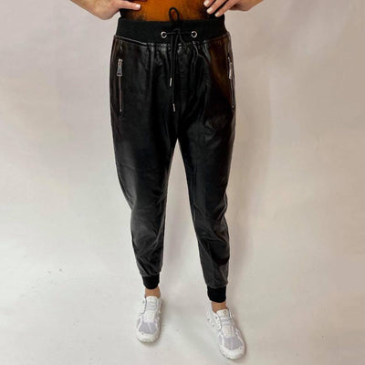 Venti6 Joggers Faux Leather Drawstring Pant with Zip Pockets - Gotstyle The Menswear Store