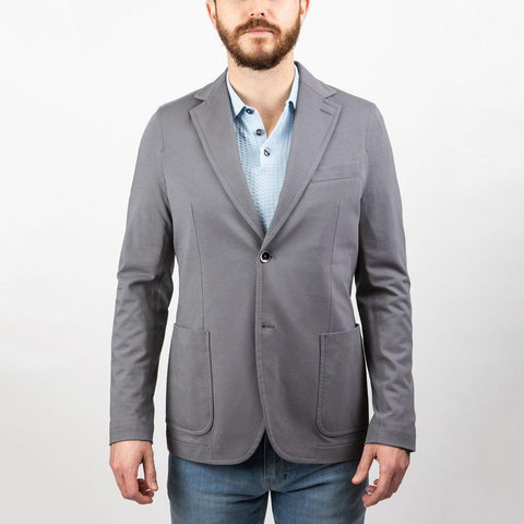 Solid Cashmere Touch Patch Pocket Jersey Blazer - Grey