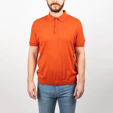 Sand Copenhagen MS - Casual Tops - Polos Solid Knit Polo - Orange - Gotstyle The Menswear Store