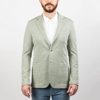 Gotstyle - 0909 Blazers Linen Blend Patch Pocket Jersey Blazer Buttonless Sleeves - Green