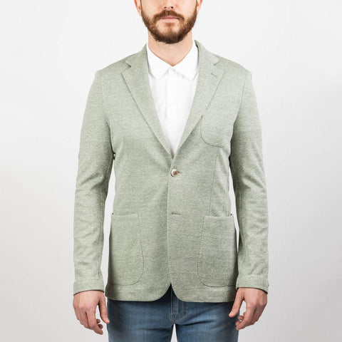 0909 MS - Blazers Linen Blend Patch Pocket Jersey Blazer Buttonless Sleeves - Green - Gotstyle The Menswear Store