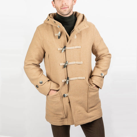 Atlantic Duffle Toggle / Zip Rain Resistant Wool Coat with Hood - Tan - Gotstyle The Menswear Store