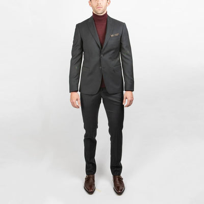 Lab Suits Solid Peak Lapel Wool Suit - Gotstyle The Menswear Store