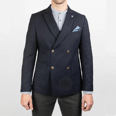 Club Of Gents - DB Peak Lapel Textured Lines Blazer