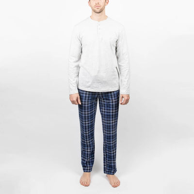 Gotstyle - Majestic Industries Henleys Vintage - 2-Piece Lounge Set - Jersey Henley and Microfleece Pants - Navy/Grey
