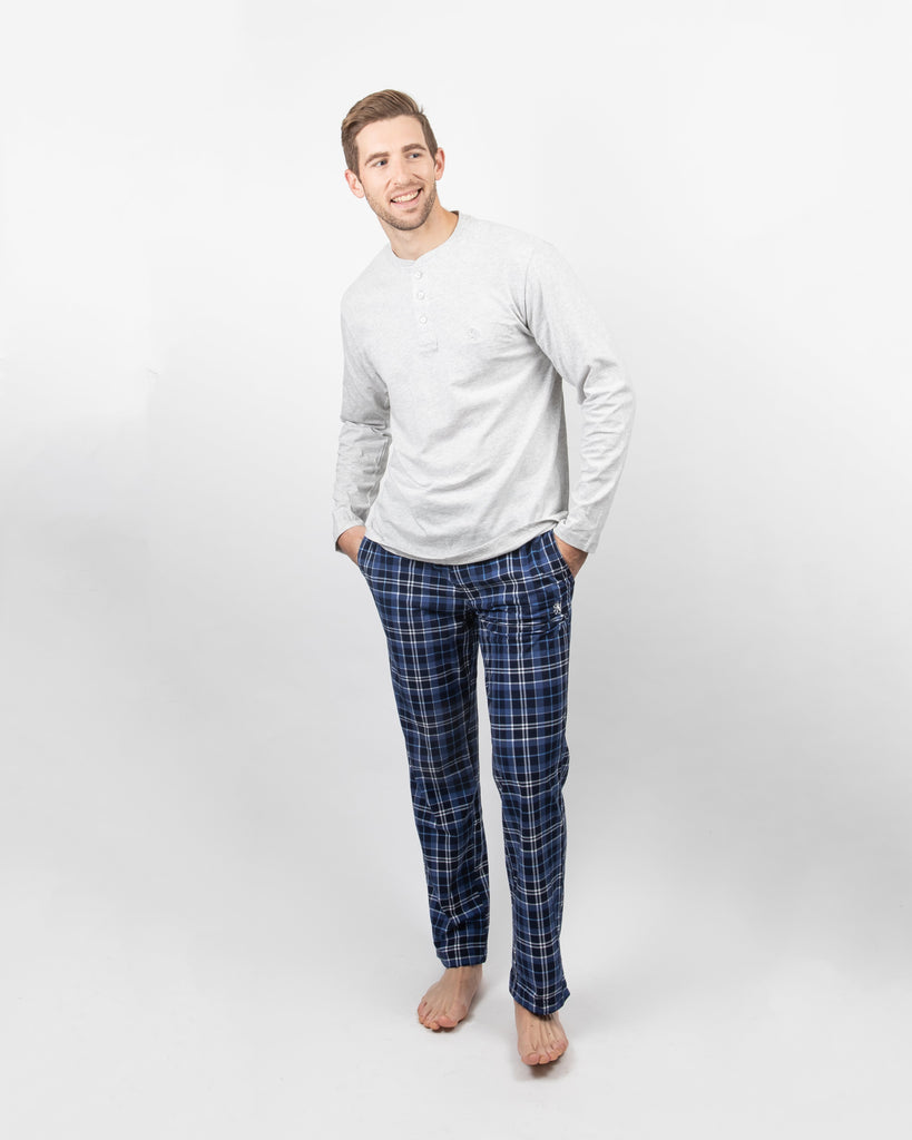 Majestic Industries MS - Casual Tops - Fleece Vintage - 2-Piece Lounge Set - Jersey Henley and Microfleece Pants - Gotstyle The Menswear Store