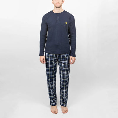 Gotstyle - Majestic Industries Henleys Vintage - 2-Piece Lounge Set - Thermal Henley and Micro Plush Pants - Navy