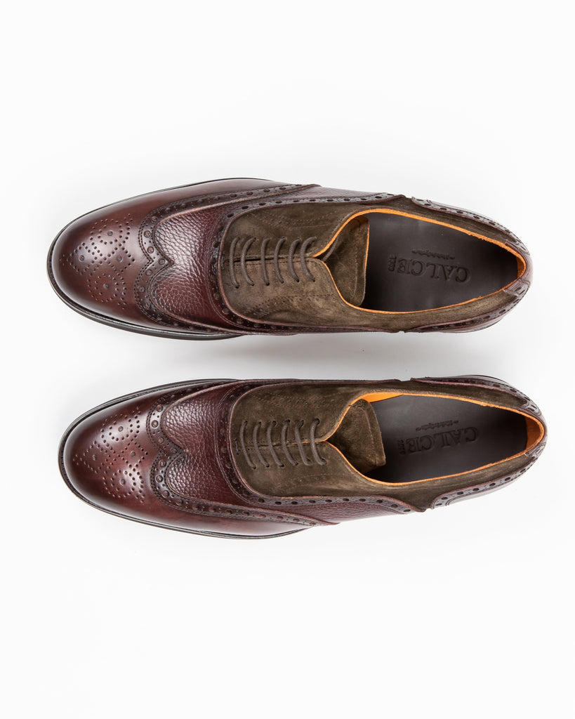 Calce MF - Dress Shoes Suede / Pebbled Leather Mix Full Brogue Oxford Shoe - Gotstyle The Menswear Store