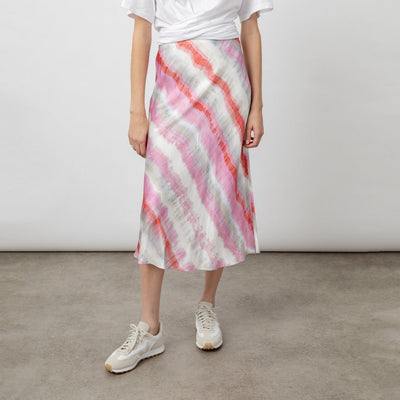 Satin Crepe Waves Print Midi Skirt - GOTSTYLE