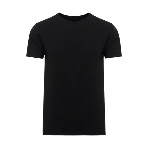 Patrick Assaraf MS - Casual Tops - Tshirts Pima Cotton Stretch Crew Neck Tee Black - Gotstyle The Menswear Store