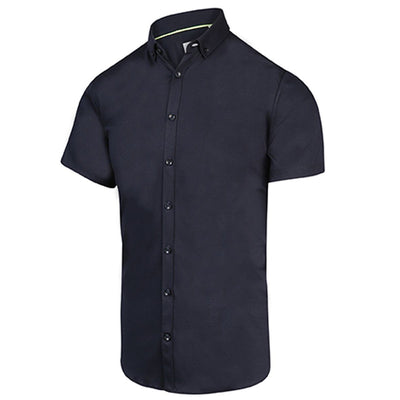 Blue Industry Collar Shirts Solid Jersey SS Stretch Shirt - Navy - Gotstyle The Menswear Store